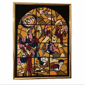 VTG Stained Glass Style Cross Stitch Art 60s-70s